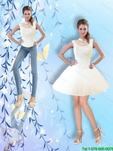 Feminine Ball Gown High Neck White Detachable Prom Dresses with Beading