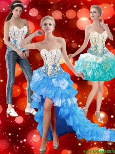 Gorgeous High Low Sweetheart Detachable Prom Dresses with Beading in Multi Color