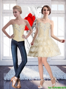 Natural Champagne Detachable Prom Dress with Beading and Ruffled Layers