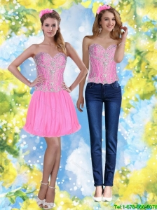 Pretty 2015 Short Pink Sweetheart Detachable Prom Dresses with Beading