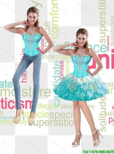 Romantic Sweetheart 2015 Detachable Prom Dresses with Appliques and Beading