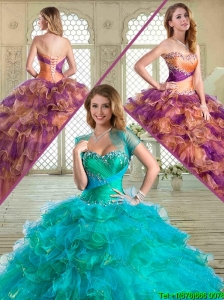 2016 Beautiful Sweetheart Sweet 16 Dresses with Beading and Ruffled Layers