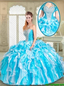 2016 Fashionable Floor Length Sweet 16 Gowns with Beading and Ruffles