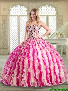 2016 Lovely Sweetheart Quinceanera Dresses with Beading and Ruffles