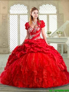 Latest Brush Train Quinceanera Gowns with Beading and Pick Ups