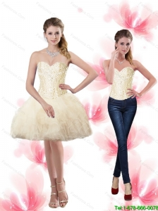 The Super Hot Sweetheart Detachable Prom Dresses with Beading and Ruffles