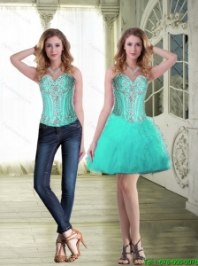 2015 Gorgeous Short Sweetheart Detachable Prom Dresses with Beading and Ruffles