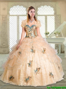 2016 Gorgeous Sweetheart Quinceanera Gowns with Appliques and Ruffles