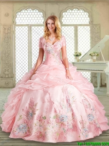 2016 Perfect Sweetheart Quinceanera Gowns  with Appliques and Pick Ups