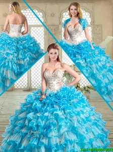2016 Pretty Floor Length Quinceanera Dresses with Beading and Ruffled Layers