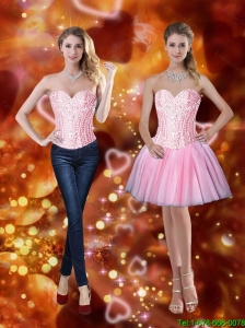 Elegant Sweetheart Short Detachable Prom Dresses with Beading in Pink
