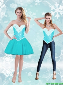 Feminine Aqua Blue Sweetheart Detachable Prom Dresses with Beading