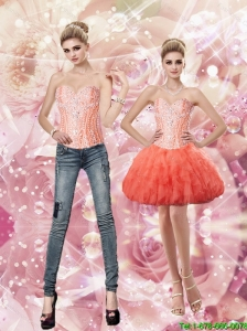 Latest Sweetheart Watermelon Detachable Prom Dresses with Beading and Ruffles