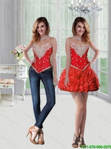 Lovely Sweetheart Mini Length Detachable Prom Dresses with Beading and Ruffles