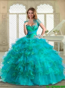 Luxurious  Floor Length Quinceanera Dresses with Beading and Ruffled Layers