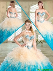 Luxurious Sweetheart Sweet 16 Gowns with Beading and Ruffles for Summer