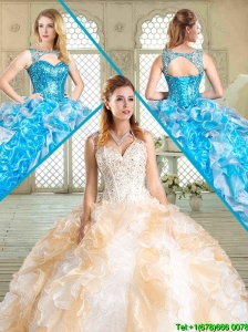 Pretty Sweetheart Quinceanera Dresses with Paillette and Ruffles for Summer