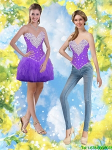 Short Beaded and Ruffles Flirting Detachable Prom Dresses in Purple