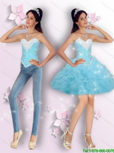 Suitable Baby Blue Beaded and Ruffles Detachable Prom Dresses for Cocktail