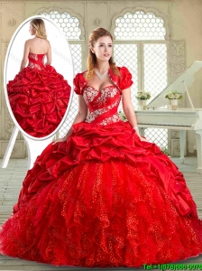 2016 Pretty Brush Train Sweet 16 Dresses with Beading and Pick Ups
