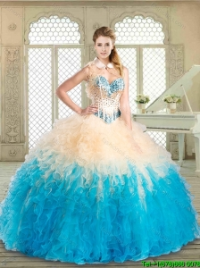 Pretty Floor Length Quinceanera Dresses with Beading and Ruffles