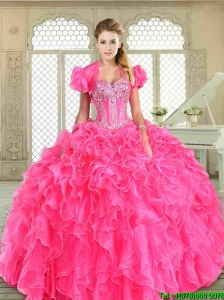 Pretty Floor Length Sweet 16 Dresses with Beading and Ruffles