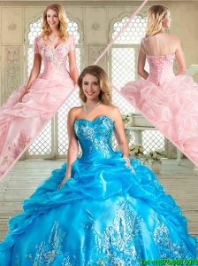 Pretty Floor Length Sweet 16 Gowns with Appliques and Pick Ups