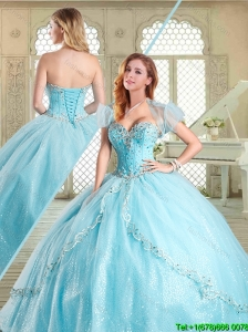 The Super Pretty Beading Quinceanera Gowns in Aqua Blue