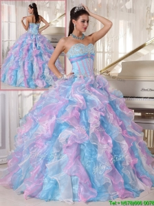 2016 Elegant Multi Color Quinceanera Gowns with Ruffles and Appliques