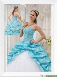 2016 Cheap Aqua Blue Ball Gown Sweetheart Quinceanera Dresses