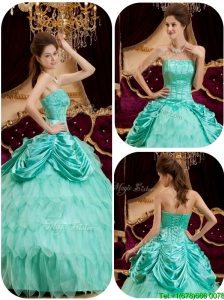Cute Ball Gown Strapless Ruffles Quinceanera Dresses for 2016