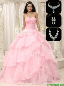 Cute Beading and Ruffles Sweet 16 Dresses in Baby Pink