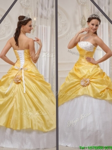 Cute 2016 Yellow Strapless Quinceanera Gowns with Beading