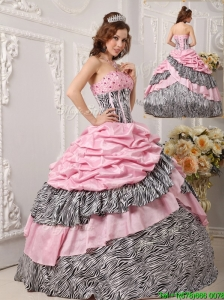 Cute Ball Gown Strapless Quinceanera Gowns in Multi Color