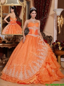 Cute Orange Red Ball Gown Floor Length Quinceanera Dresses