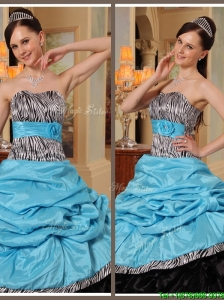 Cute Ruffles Strapless Quinceanera Gowns in Blue and Black