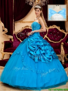 Cute Strapless Appliques and Beading Quinceanera Gowns