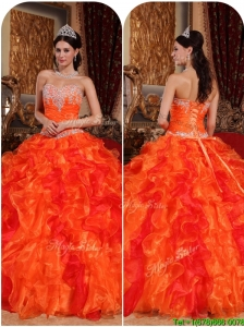 Exquisite Orange Quinceanera Gowns with Appliques and Beading