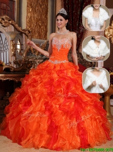 New Arrival 2016 Sweetheart Beading Sweet 15 Dresses in Orange