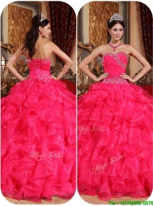 New Arrival Coral Red Ball Gown Quinceanera Dresses with Beading