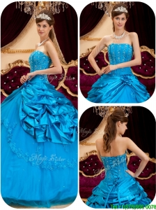 2016 PrettyPerfect Teal Quinceanera Gowns with Appliques and Beading