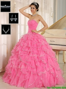 Perfect Rose Pink Quinceanera Dresses with Ruffles and Beading