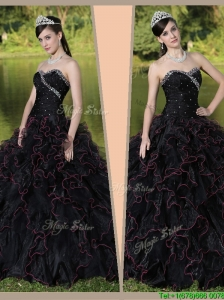 Perfect  Sweetheart Quinceanera Gowns with Ruffles Layered and Beading