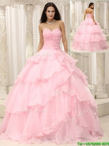 Pretty Baby Pink Quinceanera Gowns with Beading and Ruffles