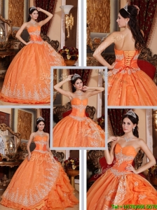 Pretty Beading and Appliques Quinceanera Gowns in Orange