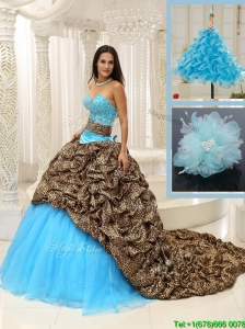 Pretty Brush Train Quinceanera Dresses in Multi Color