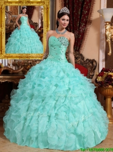 Clearance Beading and Ruffles Quinceanera Dresses in Apple Green
