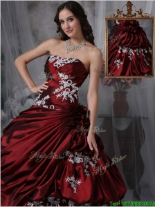 Discount Ball Gown Strapless Quinceanera Gowns with Appliques