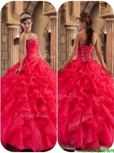 Discount Beading and Ruffles Quinceanera Dresses in Coral Red