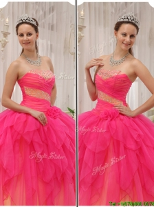 Discount Beading Strapless Quinceanera Dresses in Hot Pink